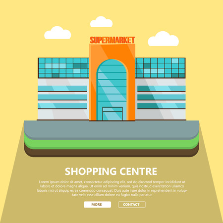 Shopping centre web page template. Flat design. Commercial building concept illustration for web design, banners. Shop, shopping center, mall, supermarket, business center on yellow background.