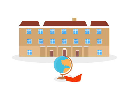 university campus: School and university or college building icon. Education student, flat campus design, graduation university. Vector illustration Illustration