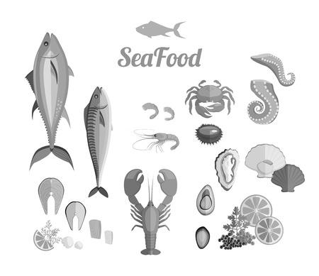 shellfish: Seafood set design flat fish and crab. Lobster and food oyster, fresh seafood, shrimp and menu octopus animal, shellfish lemon, fresh seafood vector illustration
