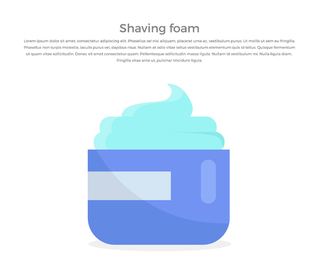 basic care: Shaving foam banner illustration. Human basic hygiene conceptual illustration. Flat style design. Shaving foam in tube vector for skin care products ad, cosmetics companies, web pages design.