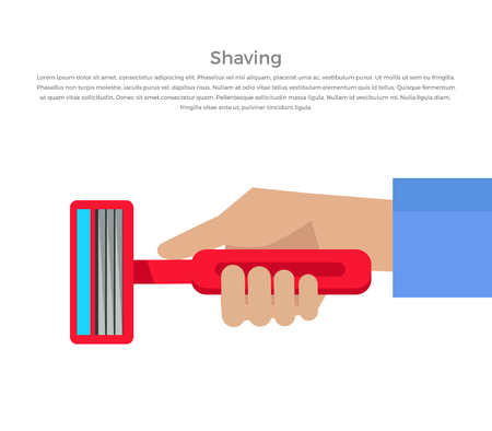 basic care: Shaving banner illustration. Human basic hygiene conceptual illustration. Flat style design. Shaving razor in hand vector for skin care products ad, cosmetics companies, web pages design. Illustration