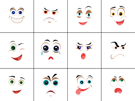 Set of smileys with expression of emotions. Funny emoticons expressing anger, happiness, sadness, joy, surprise, wonder, amazement. Different mood states collection isolated on white. Vector Illustration