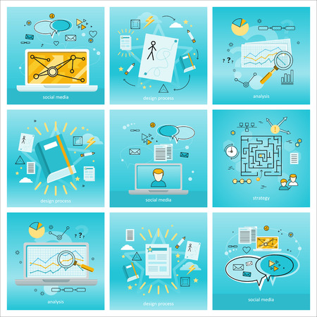 business concepts: Set of social media background. Concepts of social media, analysis, design process, strategy, online business, online education, media content. Business background with different communication element Illustration