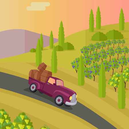 raisin: Track carries baskets with grape for wine production. Vineyard plantation of grape-bearing vines, grown for winemaking, raisins, table grapes and non-alcoholic juice. Vinegrove green valley. Vector Illustration