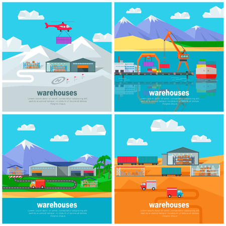 unloading: Warehouse worldwide design flat. Logistics container shipping and distribution. Transportation by water in the mountains in the desert and in the snow. Loading and unloading boxes. Vector illustration Illustration