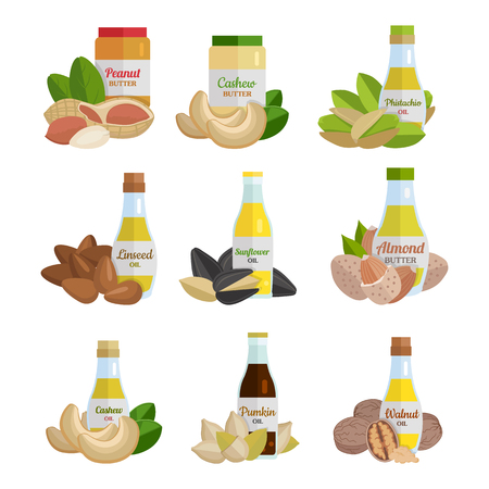 isolated ingredient: Set of butter and nut oil vector illustrations. Flat design. Healthy food, diet and cosmetic products. Seasoning. Culinary ingredient, source of protein, vitamins, fatty acids. Isolated on white.