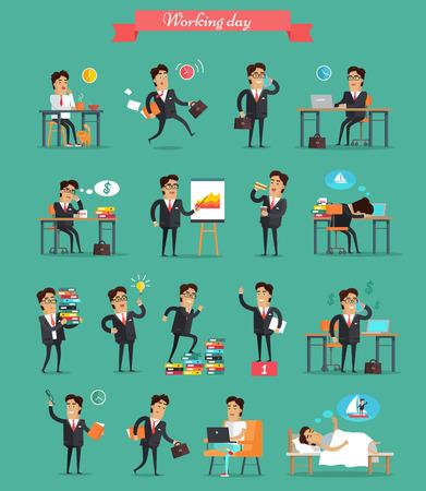 Lavorando giorno concetto di set. Vettoriale in stile piatta. Uomo d'affari in situazioni di lavoro in ufficio. Pianificazione, navigazione, chiamata, sogno e sonno, pausa, la vittoria, la carta di lavoro fretta fatica illustrazioni di stress