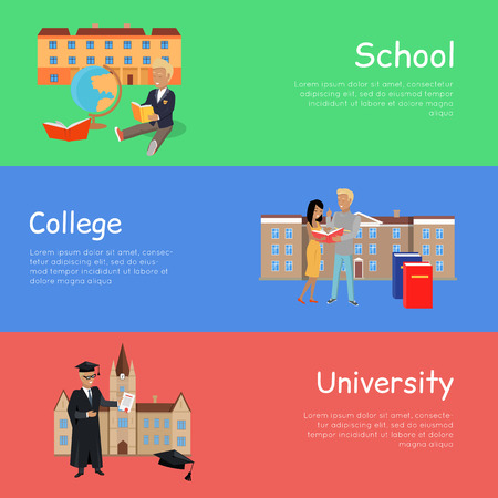 lifelong: Set of banners school college university. Education order school college university. Right way to become a good professional. Scheme of education. Part of series of lifelong learning. Vector Illustration