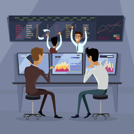 brokerage: Business team work success concept. Online trading. Brokerage trading on the stock exchange vector in flat style design. Group of businessmen enjoys success deal on stock market illustration.