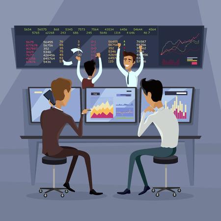 bolsa de valores: Equipo de negocios concepto de éxito de trabajo. Comercio en línea. comercio de corretaje en la bolsa de valores de vectores en el diseño de estilo plano. Grupo de hombres de negocios goza de mucho éxito en la ilustración del mercado de valores.