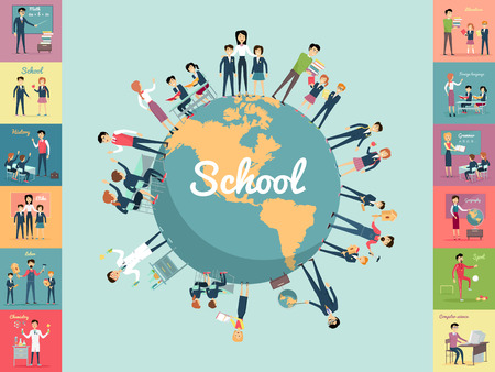School education in the world concept. Pupils and teachers holding hands around the globe. Set of illustrations with learning process, pupils in school uniform, teacher near blackboard, school subject