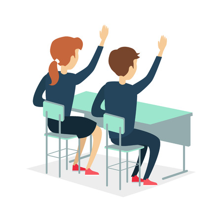 young schoolchild: Two pupils raising hand and sitting at a school desk. Studying in classroom. Pupils in school uniform. Learning process. Schoolgirl and schoolboy personage. Vector illustration on white background