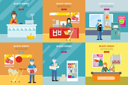 seating: Set of quality service vector banners. Flat design. Cashier seating under counter desk, worker in uniform, security in supermarket interior illustrations for retail store ad, web pages design.
