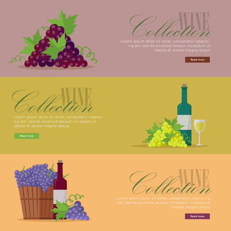 vinification: Set of fliers for elite wine collections. For labels, tags, tallies, posters, banners of check vintage wines.  icon symbol. Winemaking concept. Part of series of viniculture production. Vector
