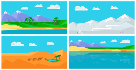 Set of natural landscapes with sea, mountains, sky, clouds, sandy beach, desert, glacier, snow. Natural landscape in flat. Mountains landscape, abstract blue panoramic view Nature background