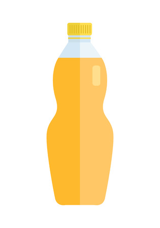 Glass or plastic bottle with beverage. Vector in flat style design. Sweet summer drinks concept. Illustration for icons, labels, prints,  , menu design, infographics. Isolated on white background.