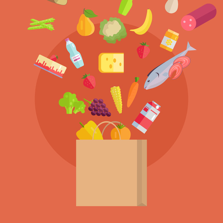 grocery shopping: Grocery shopping vector concept. Purchases planning and buying fresh products for a week concept. Various foods falling in paper bag illustration for market, shop, food delivery ad, menu, prints.