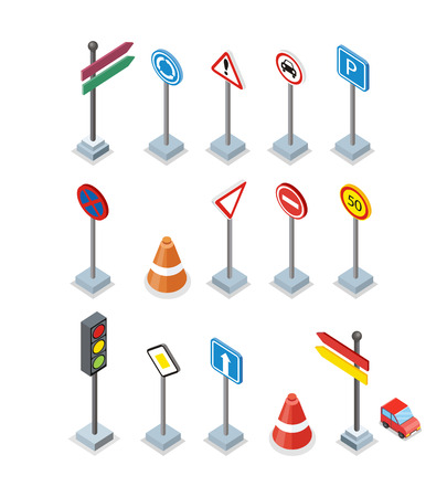 street symbols: Road and street signs set isolated. Collection of road rule signs. Symbols for traffic regulation. Warnings billboards icons. Board design. Part of series of city isometric. Vector illustration