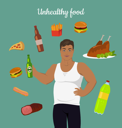 controll: Unhealthy food consumption. Man before weight loss. Fat young man around junk food. Person with big belly prefers unhealthy food. Part of series of promotion healthy diet and good fit. Vector