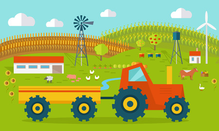 idyll: Eco farm conceptual vector. Flat design. Landscape view of traditional ecological farm. Country idyll. Farmyard with domestic animals, houses, machines, windmill, river, fields and garden. On white. Illustration