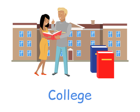 college students on campus: Two students stand with book on the background of college building. Two students read book. Brown college building with brown roof. Student communication. Education concept. College education.