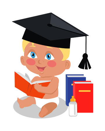 learning series: Baby sitting on floor with big book in square academic cap. Toddler reads book. Education of a child. Parenthood concept. Nursery, education at home. Part of series of lifelong learning. Vector