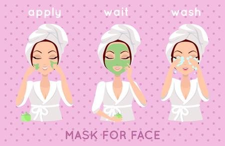 Máscara para el rostro. Niña de la aplicación de un smask cara durante unos minutos para eliminar las células muertas de la piel. Mujer de instrucciones cómo hacer correctamente. La muchacha se preocupa por su apariencia. Parte de la serie de señoras del cuidado de la cara. Vector