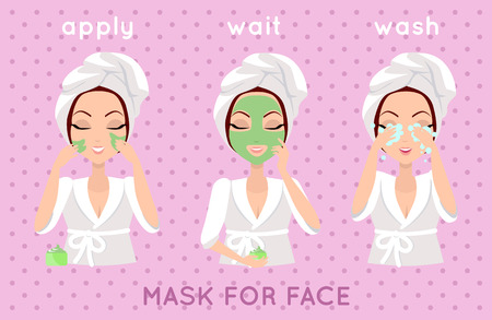 Mask for face. Girl applying a face smask for a few minutes to eliminate dead skin cells. Woman instruction how to make up correctly. Girl cares about her look. Part of series of ladies face care. Vector