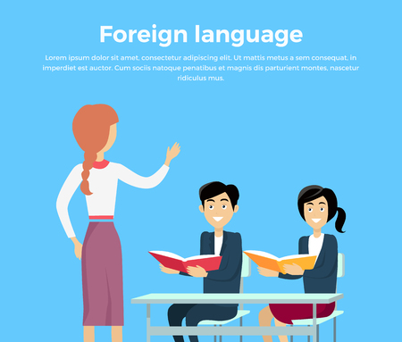 Learning a foreign language conceptual banner design flat style. Teacher woman teaches children. Children listen attentively while sitting at their desks with book in hand. Vector illustration Illustration