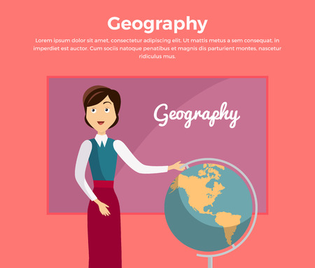 soumis: Subject of geography education conceptual banner. Geography teacher school standing next to a large globe. World map globe earth and continent, knowledge about global planet, vector illustration