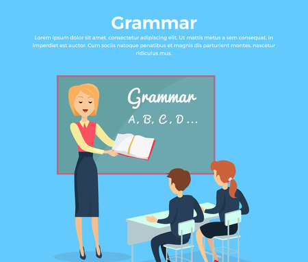 grammar: Kids grammar teaching concept banner. Vector illustration in flat design. Couple of kids, boy ang girl, studying grammar, sitting at their desks with the teacher in the classroom. School ABC lesons. Illustration