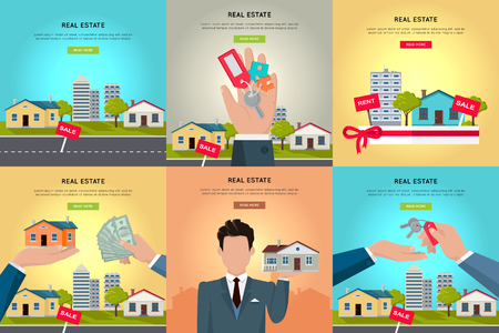 housing: Set of real estate vector conceptual web banners in flat style. Selling and buying a new place for living.  Illustration for real estate company web page design, advertising, housing concepts.