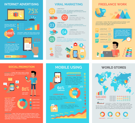 job promotion: Set of internet technology infographic vectors. Flat style. Internet advertising, viral marketing, freelance work, social promotion, mobile using, world stores concept illustrations with diagrams.
