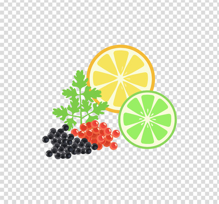 Red and black caviar pattern. Elegant delicacies from the sea concept in flat style design. Seafood illustration for packaging,  , and patterns. Caviar filed with lemon and herbs. Illustration