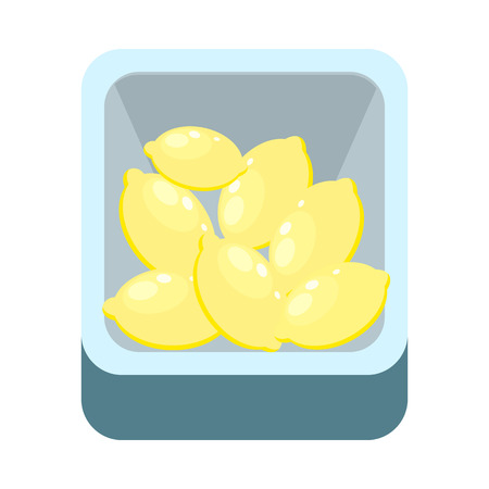 Lemons in tray isolated on white. Grocery store assortment, healthy nutrition. Illustration for icons, signboards, ad, infographics. Part of series of fruits and vegetables in flat style. Vector