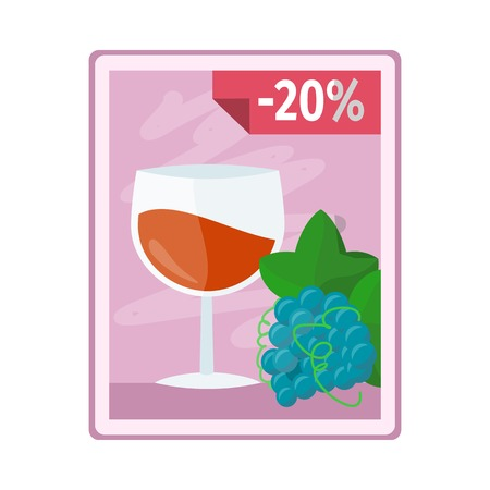 discount store: Discount on alcohol concept vector. Flat style. Poster with glass of wine, grape and interest discounts illustration for beverages concepts, grocery store ad, infograqphic element. Isolated on white.