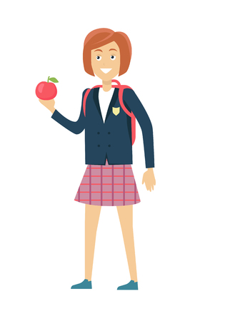 uniform skirt: Schoolgirl in blue jacket and a purple skirt. Smiling girl in school uniform with apple and backpack. Stand in front. Schoolgirl isolated character. School personage. Vector illustration. Illustration
