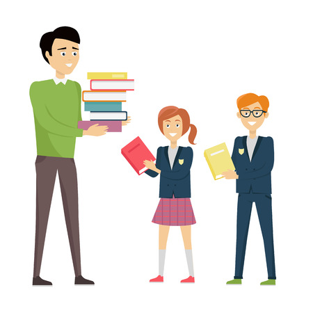 personage: School teacher in green pullover and gray pants with stack of books. Smiling teacher with pupils in blue uniform. Learning process. Teacher isolated character. School personage. Vector illustration