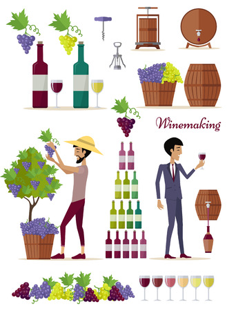 winemaking: Winemaking icon set. Collection of glasses, types of grapes, bottles, tuns, barrels, openers. Check elite vintage strong wine. Part of series of viniculture production and preparation items. Vector Illustration