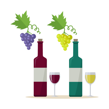 wineglasses: Bottles of white and red wine and wineglasses with bunches of wine grapes. Bottles with label and glasses of wine. Wineglasses full of wine. Wine icon. Vineyard grape icon. Grapes icon.