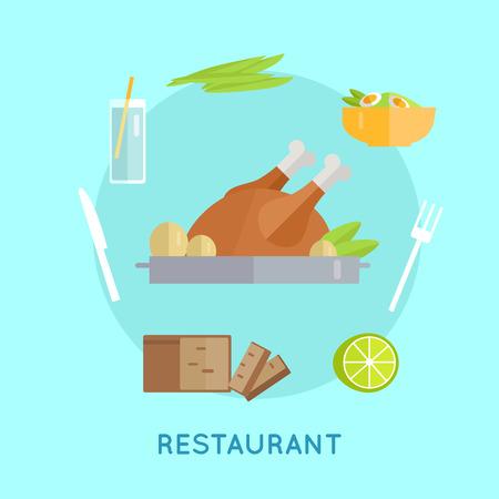 food and beverage: Restaurant food vector concept in flat style. Chicken, bread, lemon, salad, herbs, beverage, knife, fork illustrations for restaurant, shop, food delivery services ad, prints logo menu design