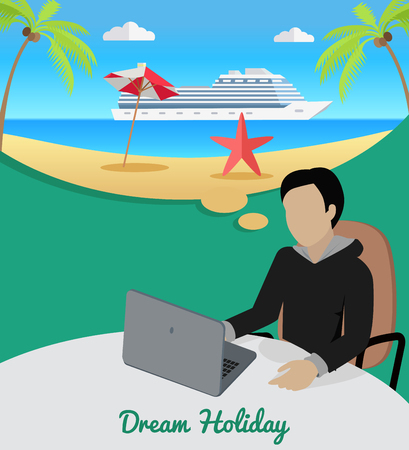 isoated: Dream holiday. Man sitting on chair at the table dreaming about good rest. Boy at work witl laptop. Endless work seven days a week. Part of series of work at the office. Vector illustration