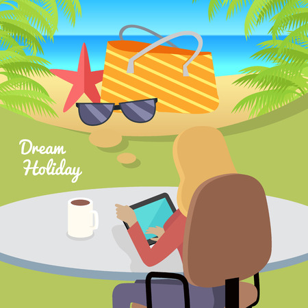 working week: Dream Holiday. Woman sitting on chair with gadget and dreaming about rest. Back view. Women at work. Endless work seven days a week. Working moments. Part of series of work at the office. Vector