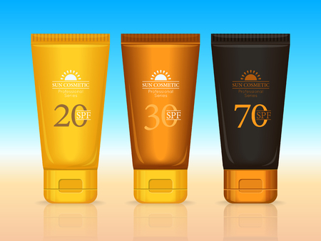 suntan: Set of sun cosmetics professional series. Suntan creams 20 SPF, 30 SPF, 70 SPF. Sunscreen protection. Cosmetic container cream icons in flat style. Part of series of decorative cosmetics items. Vector Illustration