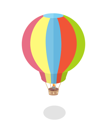 Air balloon icon. Striped multicolored aerostat with shadow. Colorful air balloon in flat. Fly transport sign. Isolated vector illustration on white background. Illustration