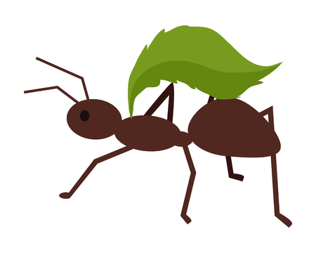 leaf insect: Brown ant with green leaf. Ant carrying leaf. Ant icon. Ant holding leaf. Insect icon. Termite icon. Isolated object in flat design on white background. Vector illustration.