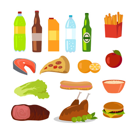 dog salmon: Healthy and unhealthy food. Editable food icons of healthy and junk food isolated on white. Drinks and beverages. Part of series of promotion healthy diet and good fit. Vector illustration