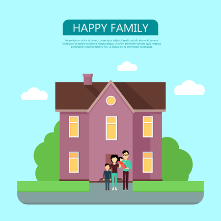 violet residential: Happy family in the yard of their house. Home icon symbol sign. Colorful residential cottage in violet colors. Part of series of modern buildings in flat design style. Real estate concept. Vector