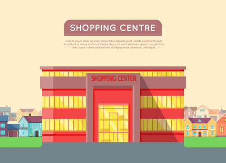 Shopping centre web page template. Flat design. Commercial building concept illustration for web design, banners. Shop, shopping center, mall, supermarket, business center on township background.
