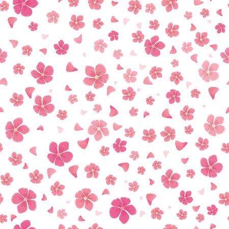 Sakura Blumen auf weiß isoliert. Nahtlose Muster. Volle Blüte der traditionellen asiatischen Kirschbaumblumen. Japanische Kirsche, Prunus serrulata. Kirschblüte. Nationale Blume von Japan. Pinke Blumen. Vektor Standard-Bild - 63506643